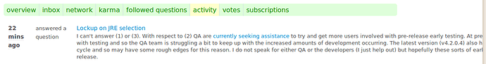 activity entry in AskLO profile