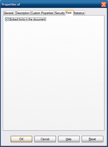 """Screenshot of the File Properties dialog showing the Font tab with option """"Embed fonts in the document"""" checked"""