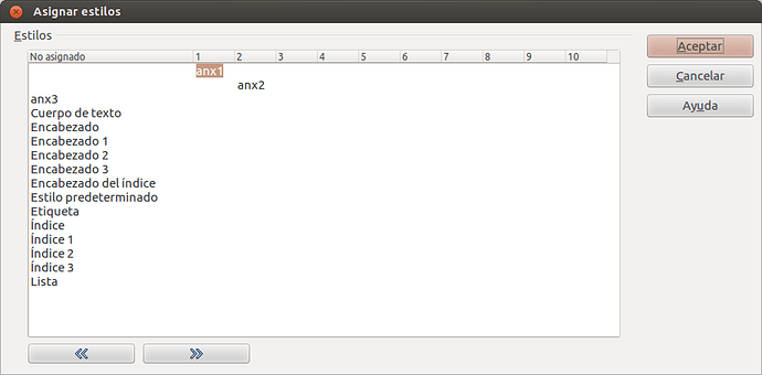 assign styles dialog box