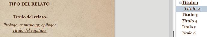 """Aquí se ve el formato de texto """"título 2"""", nivel 2. El que quiero que se muestre en la cabecera, pero solo se muestra en el texto, fuera de la cabecera."""