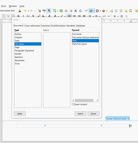 Field dialog Document tab