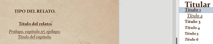 """Aquí se ve el formato de texto """"título 1"""", nivel 1. El que se muestra en cabecera aunque seleccione el nivel 2 al insertar el campo """"nombre del capítulo""""."""
