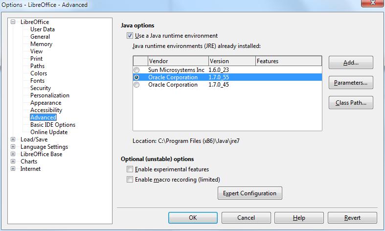 Java options