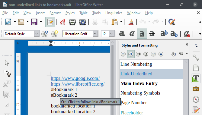 only internet links are underlined