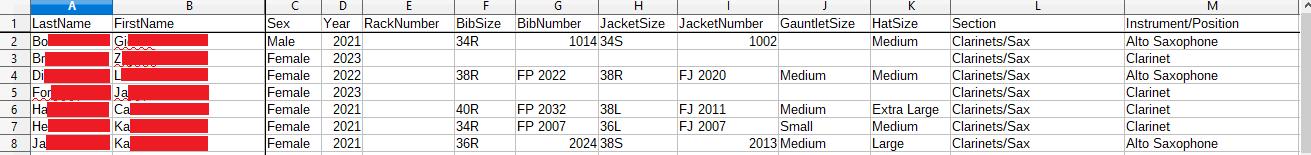 Spreadsheet left half, seven rows
