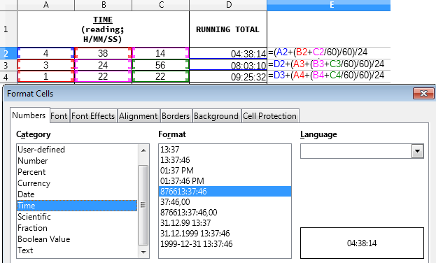 Calculate total time