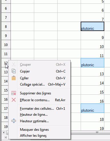 clic droit en-tete lignes sélectionnée