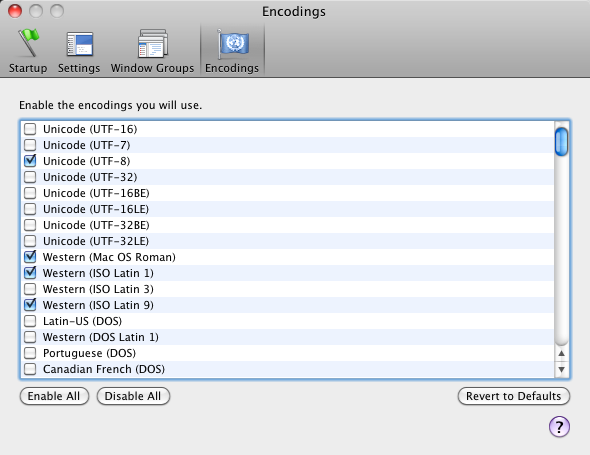 terminal encodings