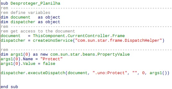 Código para desproteger, que funciona sem problemas.