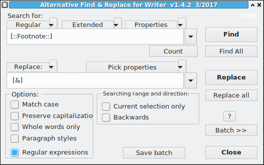 Alternative Find and Replace dialog