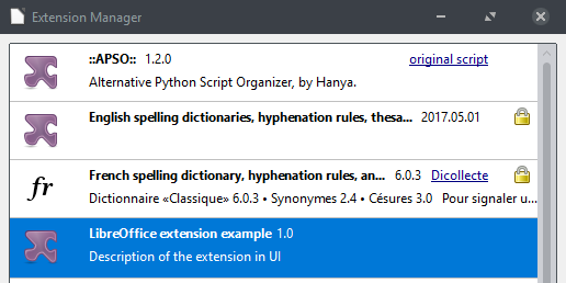 example version 1.0 in extension manager