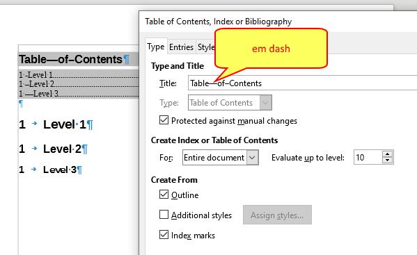emdash in title