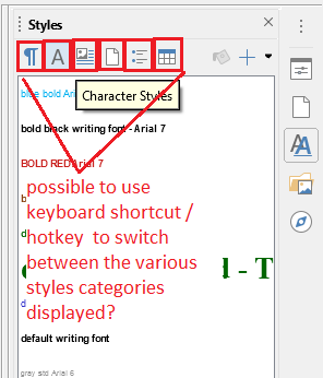 keyboard sequence to display specific style categories