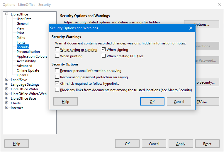 Options>Security>warnings
