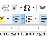 Aufzählung-Button in Symbolleiste