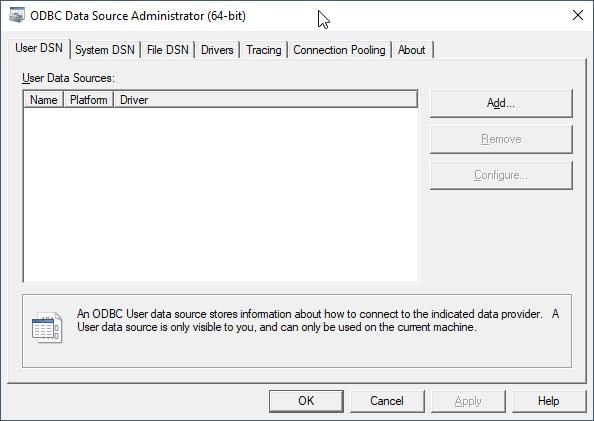 ODBC Data Source Administrator (64-bit)